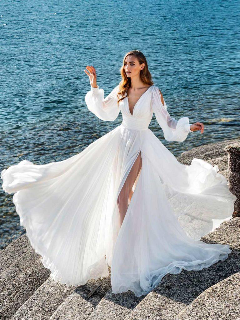 abito da sposa invernale maniche a sbuffo