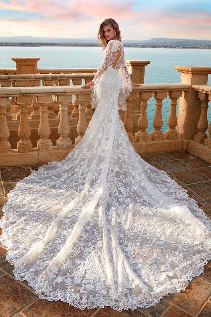 abiti da sposa sirena con maniche