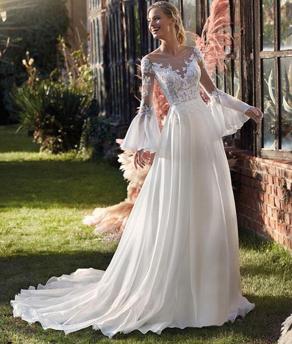 abiti da sposa stile impero con maniche