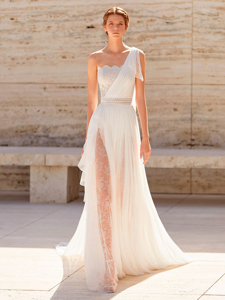 abito da sposa stile impero monospalla